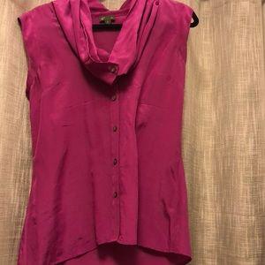 Anthro Silk cowl neck button down pink silk blouse